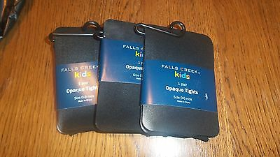 Size 0-6 Months, Fall's Creek Black Girls Opaque Tights 3 Packages