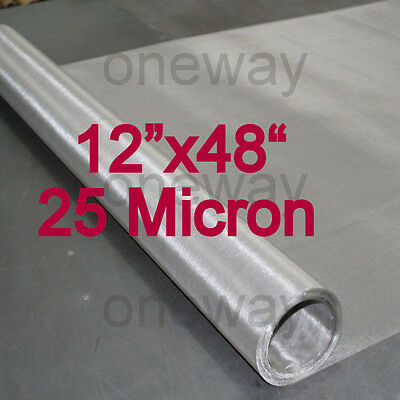 "4 PACK-12""x48"" ROLLs - 25 Micron - Stainless Steel 316 SS Mesh Rosin Tech Screen"