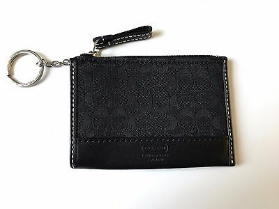 Coach Signature Card Holder/Coin Purse with Keychain - Black