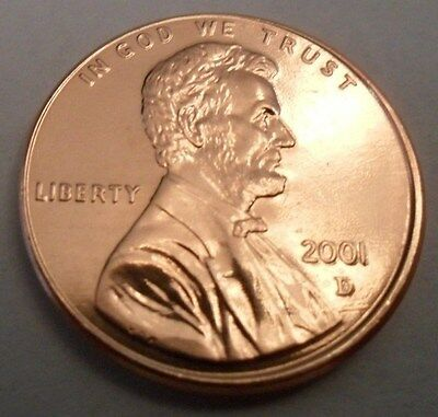 2001 D Lincoln Memorial Cent / Penny  **FREE SHIPPING**