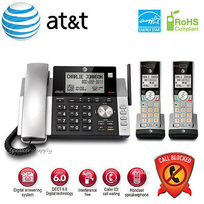 AT&T 2 Handset Corded Cordless Answering System w/ Call Block Big Button CL84215