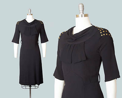 Vintage 1930s Dress | 30s Studded Black Rayon Crepe Cocktail Dress Evening Gown