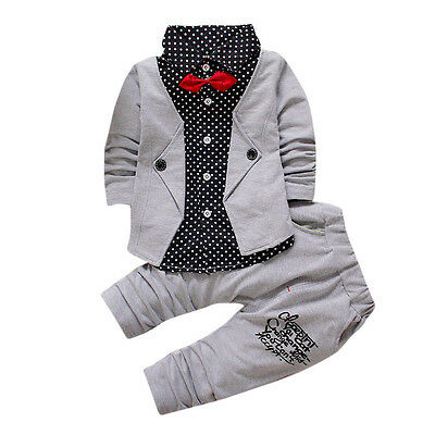 Kid Baby Boy Gentry Clothes Set Formal Christening Wedding Tuxedo Bow Suit 2