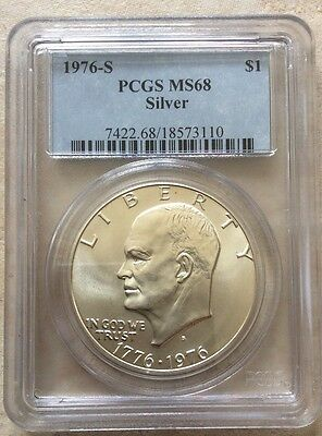 1976 S Silver Eisenhower Ike Dollar $1 PCGS MS 68