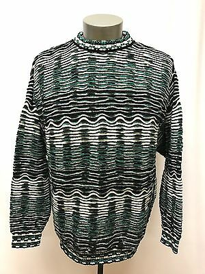 mens green white black JHANE BARNES sweater striped wool rayon classic MEDIUM