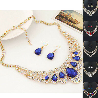 Crystal Necklace Pendant Bohemian Jewelry Set New Lady Earrings Pendant