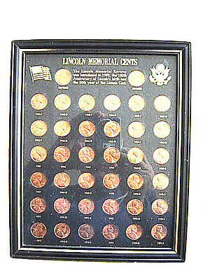 Estate The Lincoln Memorial Cents 1959-1974 Different Mint Marks Display Frame