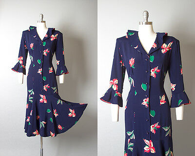 Vintage 1940s Dress | 40s Floral Rayon Navy Blue Mermaid Wiggle Cocktail Gown