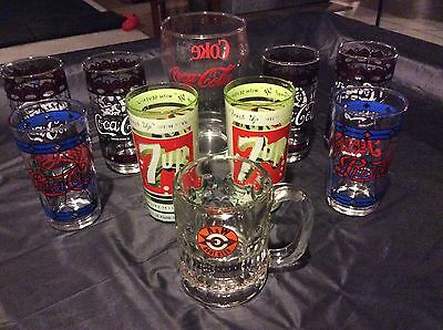 Lot Of 10 Vintage Soda Glasses - Coca-Cola / Coke / Pepsi / 7 Up / A&w Root Beer