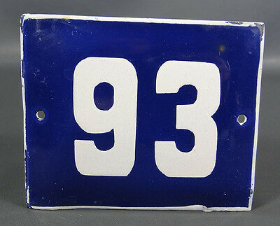 Vintage Porcelain Enamel Tin Sign House Street Door Gate Industrial Number # 93