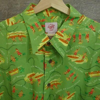 Trader Joe's Mens Hawaiian Shirt Short Sleeve Button Cotton green  Size XL
