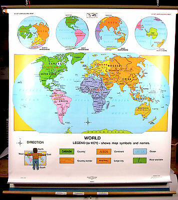 Cram Unites States - World Classroom School Wall Pull down Map US roll