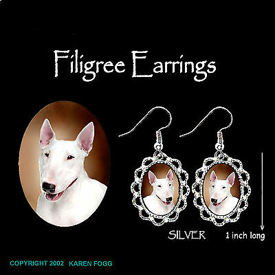 BULL TERRIER DOG - SILVER FILIGREE EARRINGS Jewelry