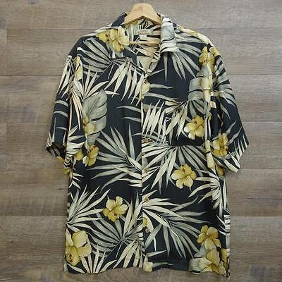 Tommy bahama Mens Button down Shirt Short Sleeve 100% Silk Size M