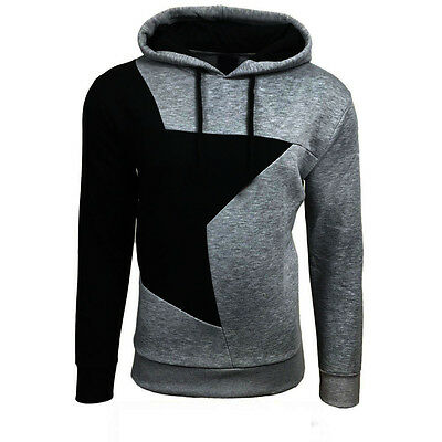 NEW Men Winter Hoodie Warm Hooded Spliced Sweatshirt Coat Jacket Sweater G/B XL