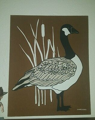 """MARUSHKA Framed Textile Print GOOSE GEESE 22"""" x 18"""""""