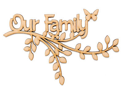 Wooden MDF Branch Shape Wall Art Family Tree Branch Our Family