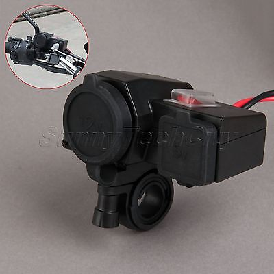 12V Motorcycle Dual USB Port Power Charger Cigarette Lighter Plug Socket Adapter