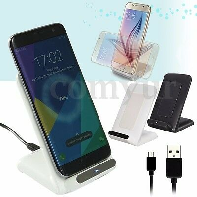 Wireless QI Fast Charger Charging Stand Dock For Samsung Galaxy S8 iPhone 7 UK