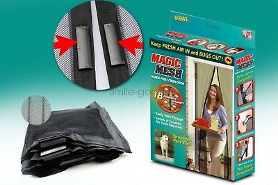 Magic Mesh As Seen on TV Hands Free Screen Door Magnets Mosquito Fly (Black)