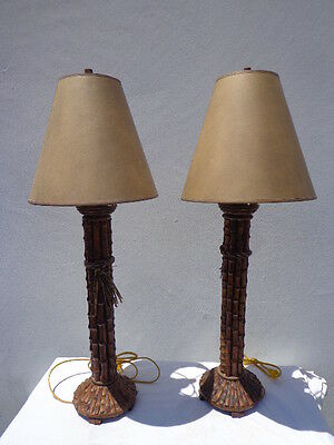 Pair of Lamps Table Light Faux Bamboo Vintage Asian Chinoiserie Decor Vintage