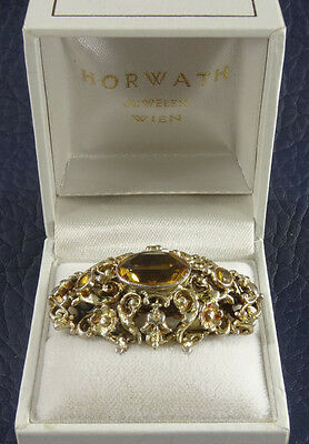 Vintage Austrian Sterling Silver & Gold Victorian Brooch stone Citrine with mark