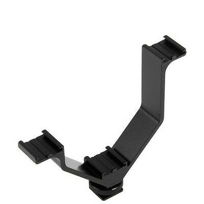V Shape Triple Mount Hot Shoe Flash Bracket for Speedlite DSLR Camera Mic Holder