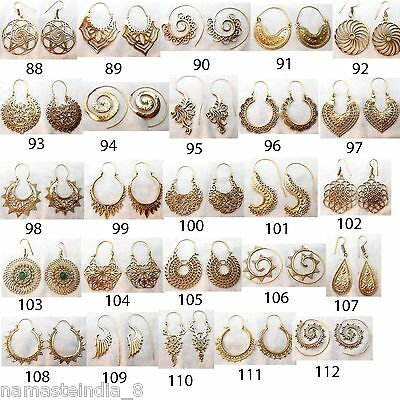 100 Pair Solid Brass Tribal Handmade Earrings Mixed Designs Wholesale Free Ship