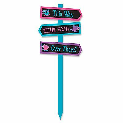 71cm Lawn Sign Arrows This Way That Way Mad Hatter's Tea Party Alice Wonderland