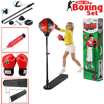 Kids Punching Bag Ball Set Include Gloves Mitts Adjustable Height Free Standing