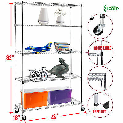 "82""x48""x18"" Heavy Duty 5 Tier Wire Shelving Rack Chrome Steel Shelf Adjustable"