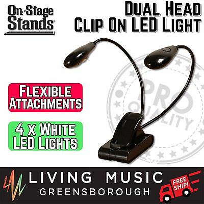 NEW On Stage Stands Dual Head LED Clip On Music Stand Sconce Light Lamp