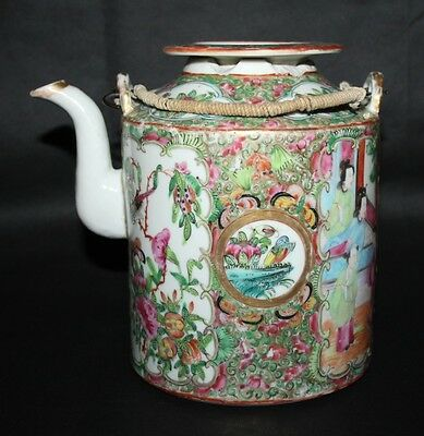 Antique 19th Century Chinese Export Canton Famille Rose Medallion Large Teapot