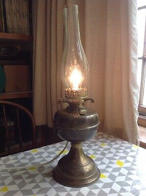 Vintage Old Brass Oil Lamp Converted To Electric