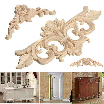 New Wood Carved Corner Onlay Applique Frame Decor Furniture Craft Unpainted Home