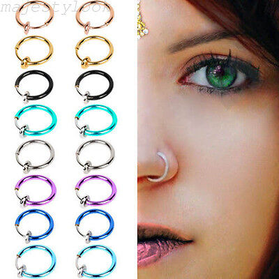 2PCS Fake Nose Lips Ring Spring Clip Hoop Earring Unisex Goth Piercing Septum