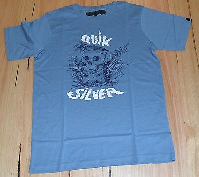 Quiksilver Boys Printed T Shirt - BLUE - SIZES - 8, 12 & 14 YEARS - NEW