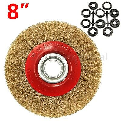 8'' 200mm Wire Brush Wheel For Bench Grinder Polish + 10 Reducers Adaptor Rings