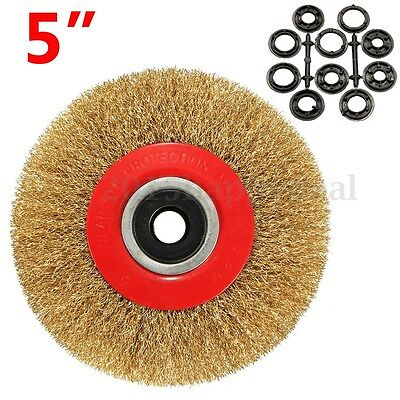 5'' 125mm Wire Brush Wheel For Bench Grinder Polish + 10 Reducers Adaptor Rings
