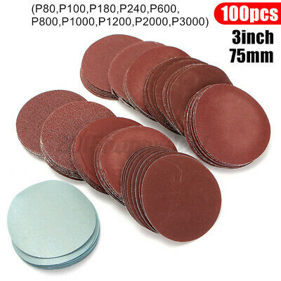 100pcs 3'' 75mm Sanding Disc Mixed 80-3000 Grit Polishing Sander Pad Sandpaper
