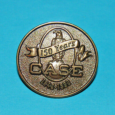 Nice Bronze Metal Pin Celebrating 150 years CASE FARM EQUIPMENT sales & service
