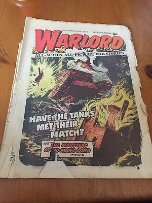 WARLORD Comic - Issue 27 Date 29th March 1975 - UK Paper Comic D C Thomson. Torn