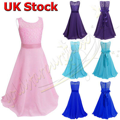 Girls Flower Lace Dress Bridesmaid Party Princess Prom Wedding Christening
