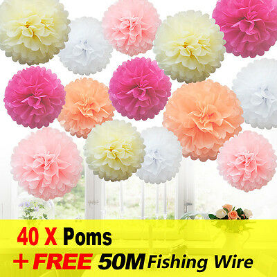 40 Mixed Pink Shade Tissue Paper Pompoms Pom Poms Hanging Garland Wedding Party