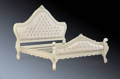 Mahogany Shabby Chic Antique White French Ornate Rococo Super King Size Bed 6ft