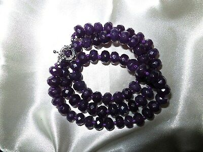Very lovely faceted natural Russian Amethyst 8mm necklace