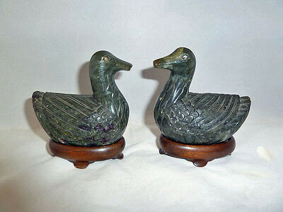Pair of Qing / Republic Chinese Jadeite ? Hardstone Geese with Stands