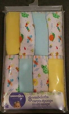 Babies-R-Us 8 baby / infant washcloths, multi usage, 9.5 X 9.5 inches - NEW