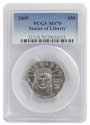 2005 Platinum Eagle Pcgs Ms70 $50  Statue Of Liberty