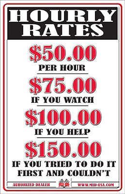 """EMBOSSED METAL HOURLY RATES SIGN LABOR MECHANIC GARAGE SHOP FUNNY 11"""" x 17"""" NEW"""